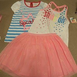 Girls 3 piece set shirt/skirt